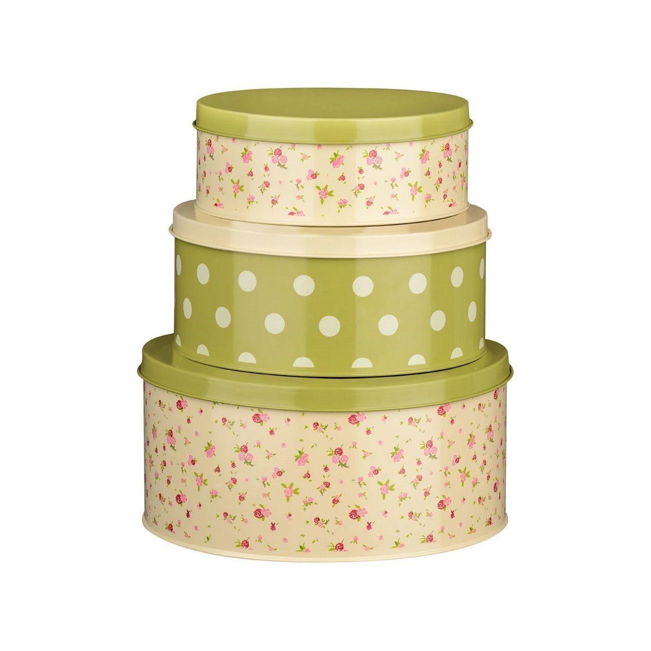 set of 3 rose cottage round cake metal tins biscuit. Black Bedroom Furniture Sets. Home Design Ideas