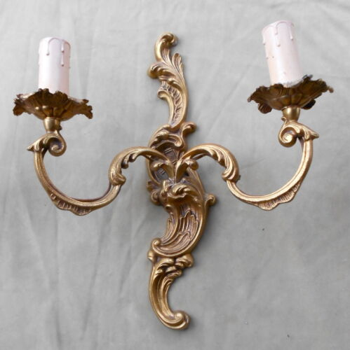 SET OF 3 VINTAGE FRENCH HENRY XV ROCOCO GILDED BRASS WALL SCONCES in Antiques, Architectural & Garden, Chandeliers, Fixtures, Sconces | eBay