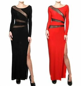 Evening Maxi Dress on Lace Mesh Panel Long Sleeve Side Slit Cocktail Long Maxi Dress   Ebay