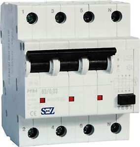 SEZ-Fi-Schalter-40A-30mA-4p-10kA-Fehlerstromschutzschalter-FI-Schutzschalter