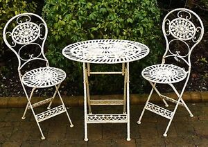 shabby chic antique garden furniture wrought iron patio set table chairs crea
