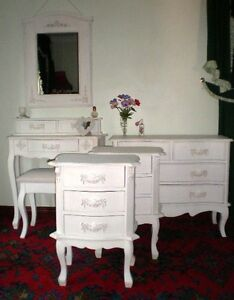 CHIC BEDROOM SET 6 Piece FRENCH COUNTRY STYLE FURNITURE WHITE IVORY