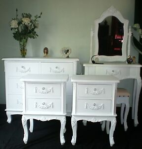 SHABBY CHIC BEDROOM SET FRENCH STYLE FURNITURE WHITE With CRYSTAL