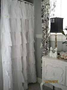 Shabby Cottage Beach French Chic Country White Tier Ruffled Shower Curtain Ebay