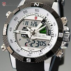shark luxury mens army dual display alarm chronograph