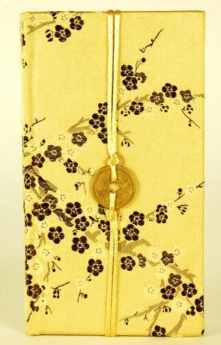 "SILK PAPER JOURNAL Gold Cherry Blossom Blank Notebook Asian Diary Gift 7x4"" in Books, Accessories, Blank Diaries & Journals 