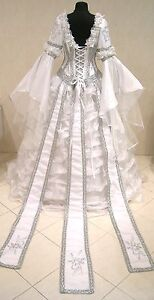 SILVER-MEDIEVAL-WEDDING-DRESS-VICTORIAN-GOTH-M-L-XL-14-16-18-WITCH-NARNIA-ROBE