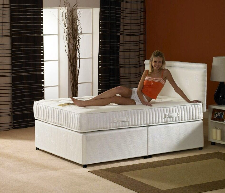 Single double small double king luxury divan bed with for Single divan beds with mattress and headboard