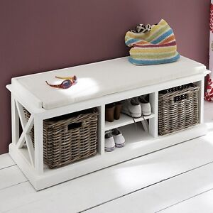 sitzbank mit kissen ablagen und k rben schuhschrank shabby. Black Bedroom Furniture Sets. Home Design Ideas