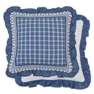 sj blau kissenbezug kissenh lle kissen shabby 40x40 clayre eef blau kariert ebay. Black Bedroom Furniture Sets. Home Design Ideas