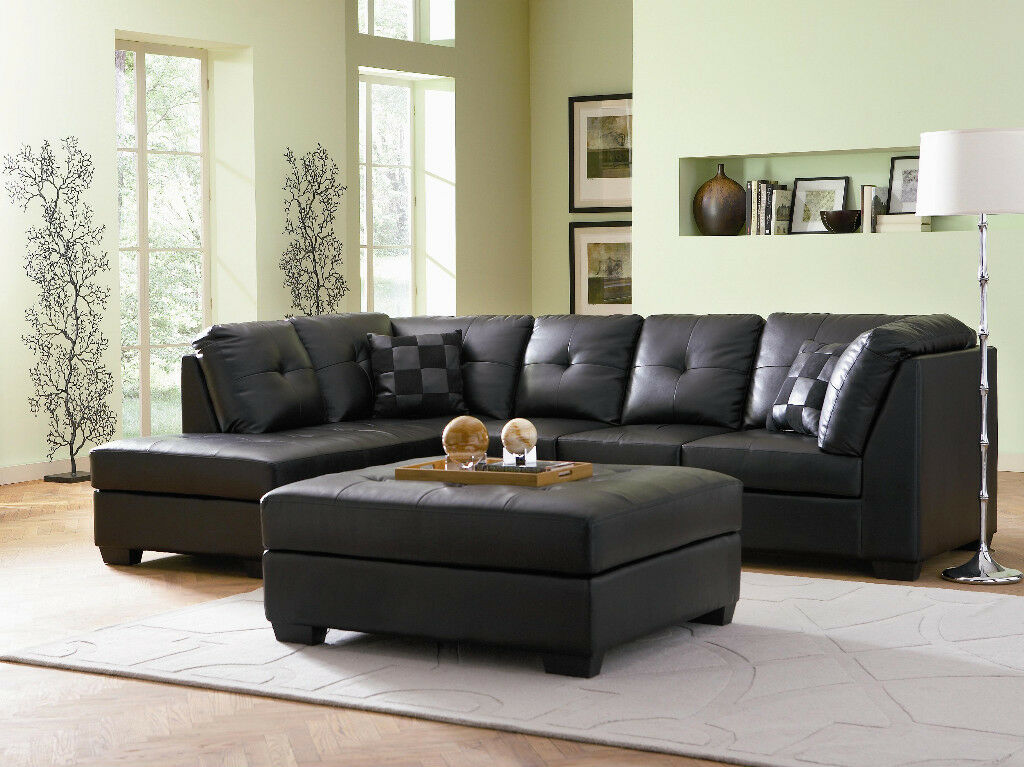 Tufted black leather sofa chaise sectional living room for Black leather chaise sofa
