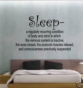 sleep definition bedroom sticker wall art vinyl quote ebay