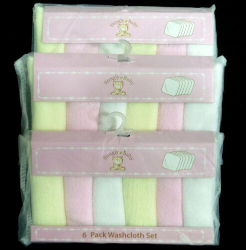 "SNUGLY BABY Girls 3 Packs Of 6 Washcloths Yellow, White,Pink Size 8""x8""NIP in Baby, Bathing & Grooming, Towels & Washcloths 