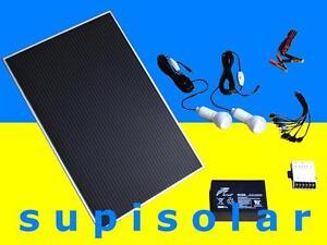 solaranlage komplett paket panel batterie regler lampen garten inselanlage usb ebay. Black Bedroom Furniture Sets. Home Design Ideas