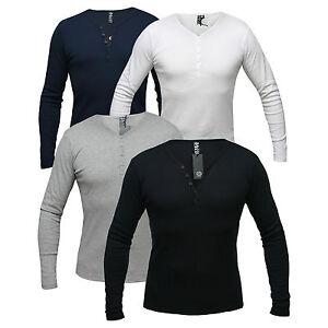 SOLID-Herren-Longsleeve-Weiss-Grau-Blau-Schwarz-Langarm-Serafino-Shirt-S-M-L-2-XL