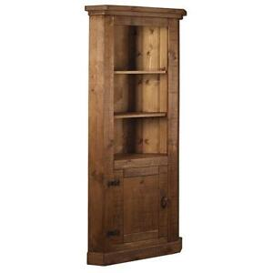 Solid Wood Tall Corner Cupboard Cabinet Unit Chunky Rustic