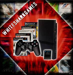 SONY-Playstation-2-Slim-schwarz-PS2-3-Spiele-Controller-Memory-Card