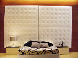 Spalliera testata per letto a moduli imbottita in ecopelle su misura ebay - Spalliera letto imbottita ...