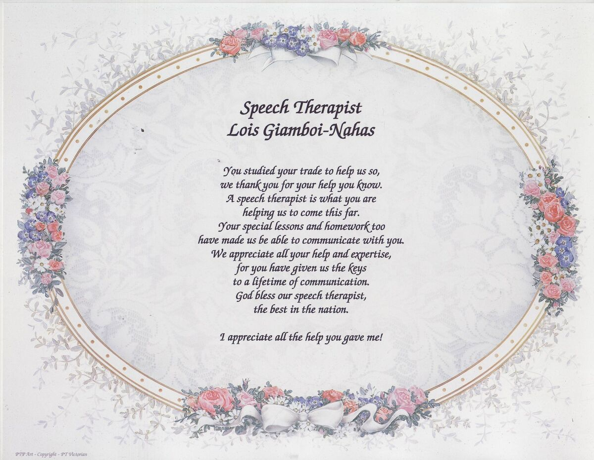 SPEECH THERAPIST Poem Personalized Print Name Prayer