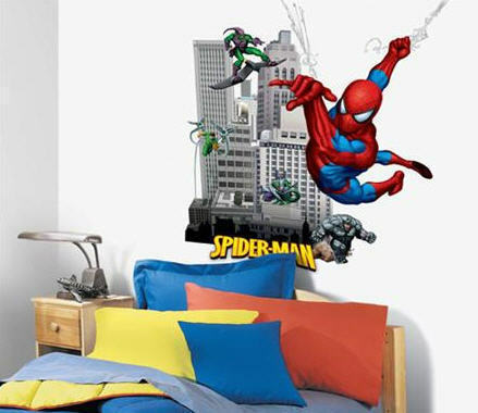 "SPIDERMAN wall stickers MURAL 10 decals Amazing Spidey GLOWS IN DARK 35"" x 40"" in Home & Garden, Kids & Teens at Home, Bedroom, Playroom & Dorm Decor 