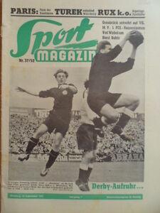 SPORT-MAGAZIN-KICKER-37-10-9-1952-1-FCN-Fuerth-2-2-Weiss-Stuttgart-Bayern-4-0