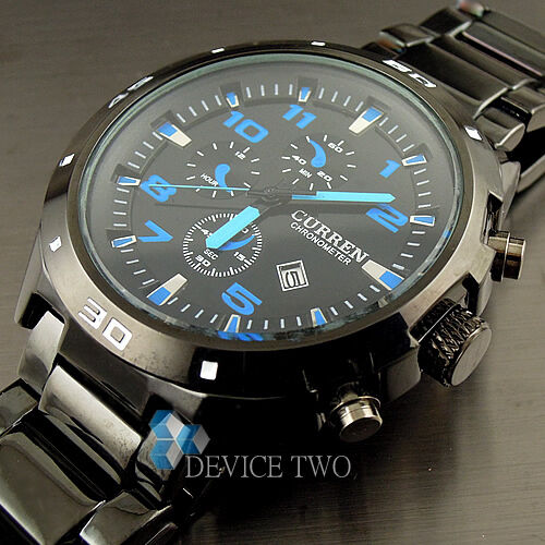 SPORT WATER QUARTZ HOURS DATE HAND BLUE DIAL CLOCK MEN STEEL WRIST WATCH HW151
