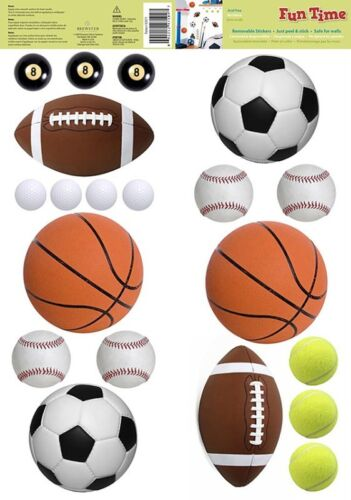 SPORTS BALLS 20 Removable Wall Decals SOCCER FOOTBALL BOYS Room Decor Stickers in Home & Garden, Home Decor, Decals, Stickers & Vinyl Art | eBay