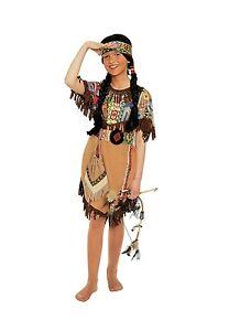 SQUAW-Indianer-Kinder-Maedchen-Kostuem-Indianerin-m-Stirnband-NEU