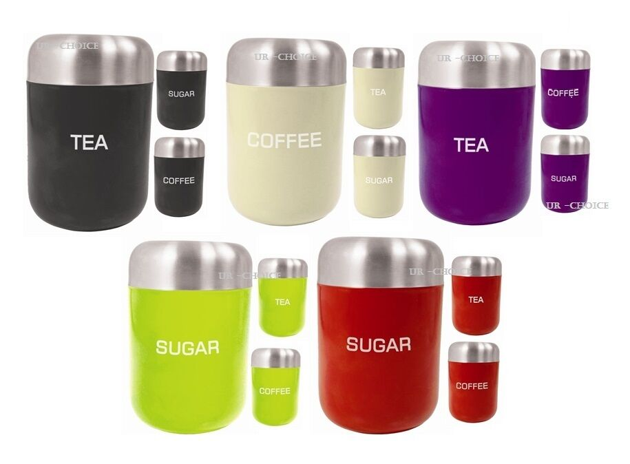 3pcs tea coffee sugar jar set air tight containers canisters set kitchen storage ebay - Modern tea and coffee canisters ...