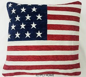 Stars And Stripes American Flag Chenille Red White Blue 18