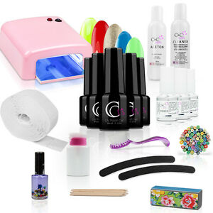 starter set uv nagellack uv gel set uv lampe 36w naildesign nailstudio nailart ebay. Black Bedroom Furniture Sets. Home Design Ideas