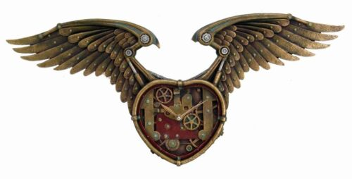 STEAMPUNK ANTIQUE VINTAGE WALL CLOCK WINGED GEAR HEART TIME WAITS FOR NO MAN in Collectibles, Science Fiction & Horror, Other | eBay
