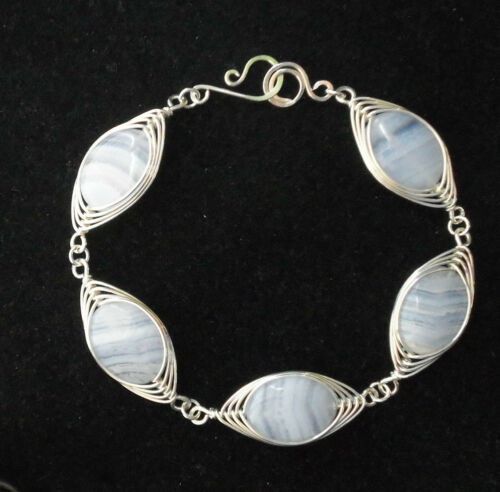 "STERLING SILVER BLUE CHALCEDONY GEMSTONE 7.6"" HAND MADE ARTISAN BRACELET JEWELRY in Jewelry & Watches, Handcrafted, Artisan Jewelry, Necklaces & Pendants 