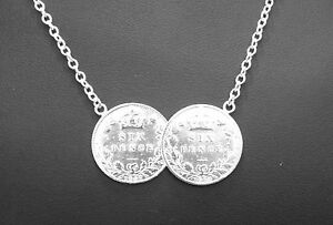 sterling silver lucky six pence coin pendant