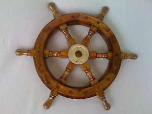 steuerrad 47 cm edles holz messing boot schiff neu pirat piraten geschenkidee ebay. Black Bedroom Furniture Sets. Home Design Ideas