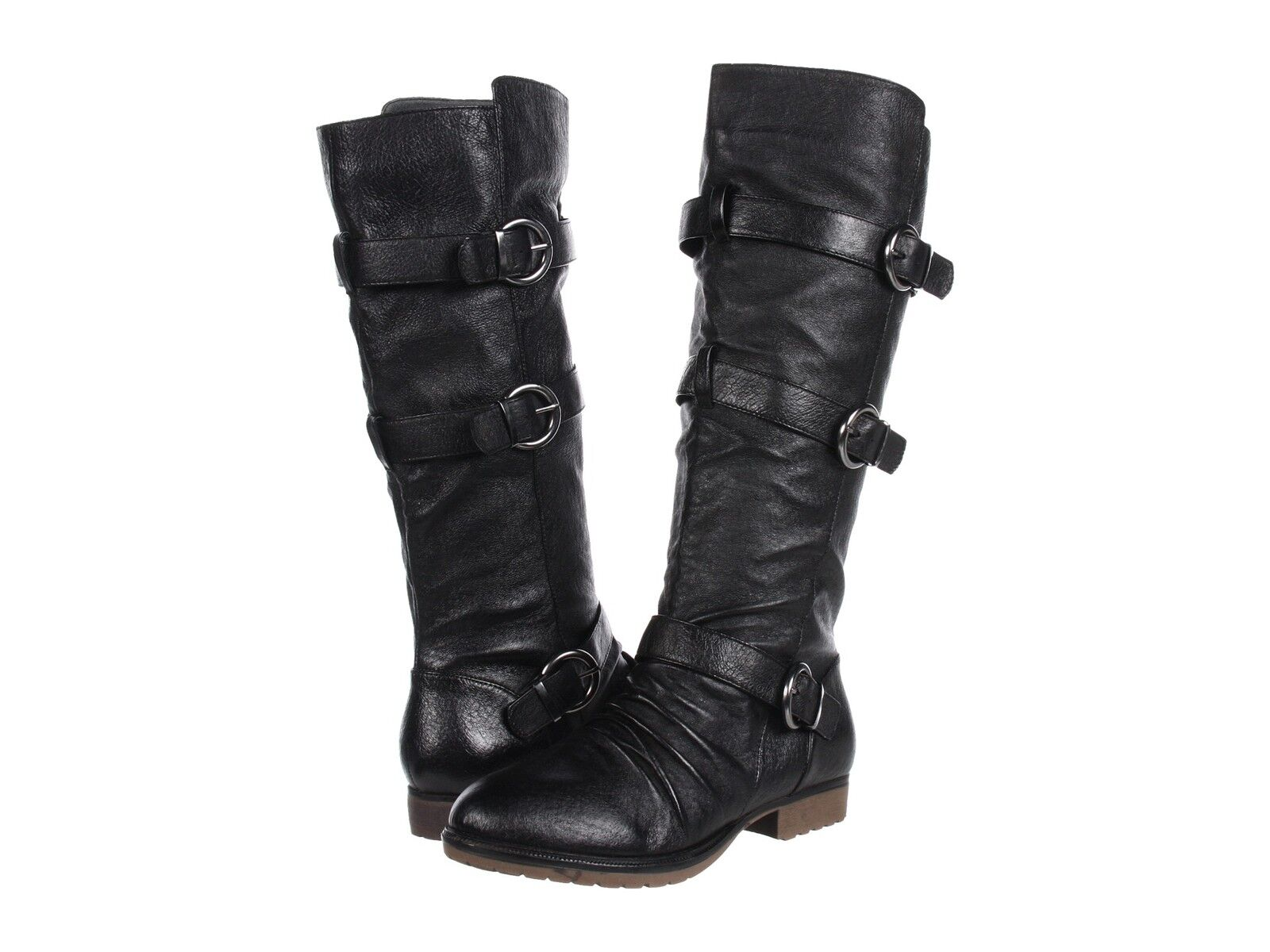 STEVE MADDEN Bennet BLACK Leather Tall Knee Boots Riding Shoes Flats Womens New