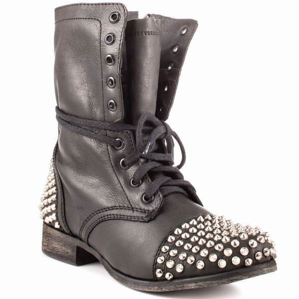 451549144ab Steve Madden Tarnney Grey Leather Studded Combat Boots on PopScreen