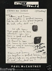 STEVIE-WONDER-Signed-Lyrics-Ebony-Ivory-by-Paul-McCartney-Beatles
