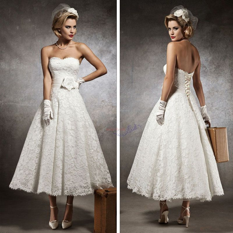Simple Ankle Length Lace Wedding Dresses White Three: New Vintage Style Custom 3/4 Sleeve Tea Length Wedding