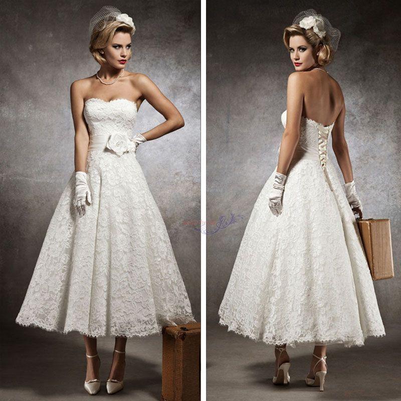 New Vintage Style Custom 3/4 Sleeve Tea Length Wedding