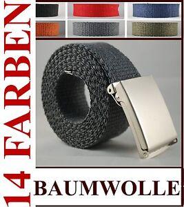 STOFFGURTEL-90-150CM-14-FARBEN-BAUMWOLLE-4CM-KLAPPVERSCHLUSS-HERREN-DAMEN-BELT