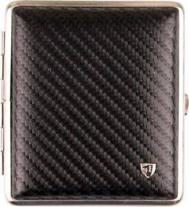 STOLL-Zigarettenetui-Echt-Leder-schwarz-carbon-optik-18er-Made-in-Germany-NEU
