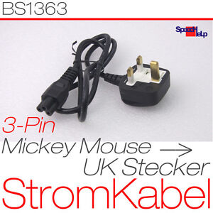 STROMKABEL-UK-ENGLAND-TO-MICKEY-MOUSE-STECKER-BS1363-TO-IEC-6032-C5-PSU-CABLE
