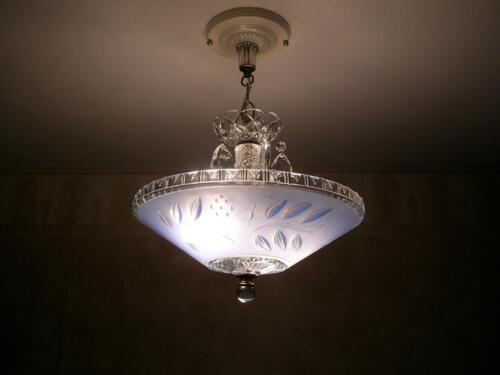 STUNNING 30's ART DECO Ceiling Light Fixture CHANDELIER in Antiques, Architectural & Garden, Chandeliers, Fixtures, Sconces | eBay