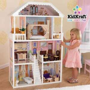 Sturdy 4 Story Doll House Mansion W Furniture Set Fits Barbie Wooden Wood Ebay