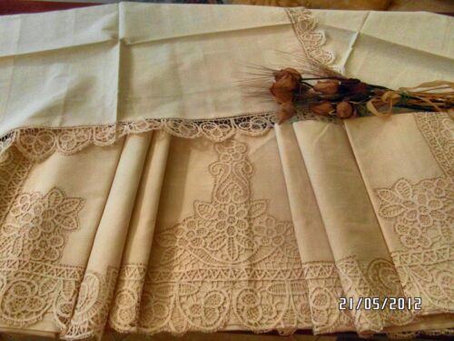SUMPTUOUS ANTIQUE KING DOUBLE SHEET FRENCH IN LINEN 1944's BATTENBURG POINT LACE in Antiques, Linens & Textiles (Pre-1930), Embroidery | eBay