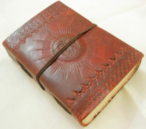 SUN Embossed Handmade Paper Leather bound Journal Blank Diary Writing Notebook in Books, Accessories, Blank Diaries & Journals | eBay