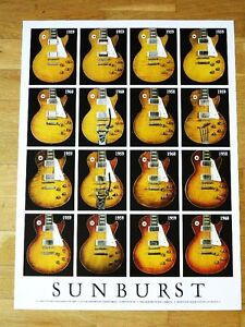 SUNBURST-GIBSON-LES-PAUL-STANDARDS-1958-60-GUITARS-POSTER-PLAKAT-NEU-IN-MINT-RAR
