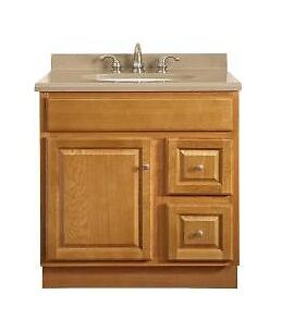 Overstock Bathroom Vanities on Sunco 30 Inch Oak Bathroom Vanity 1 Door 2 Drawer 21 D   Ebay