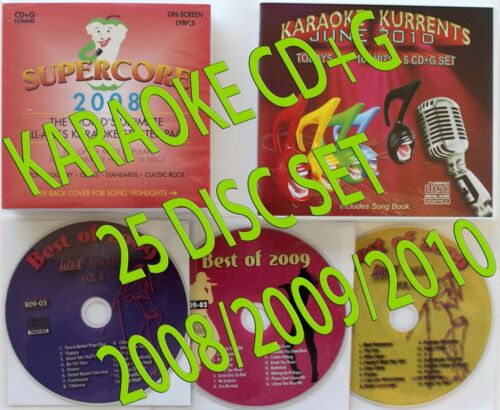 SUPERCORE 2008,BEST OF 2009,JUNE 2010,NEW KURRENTS KARAOKE CD+G 25 DISC SET ! in Musical Instruments & Gear, Karaoke Entertainment, Karaoke CDGs, DVDs & Media | eBay